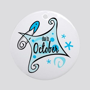 Due in October [Blue] Ornament (Round)